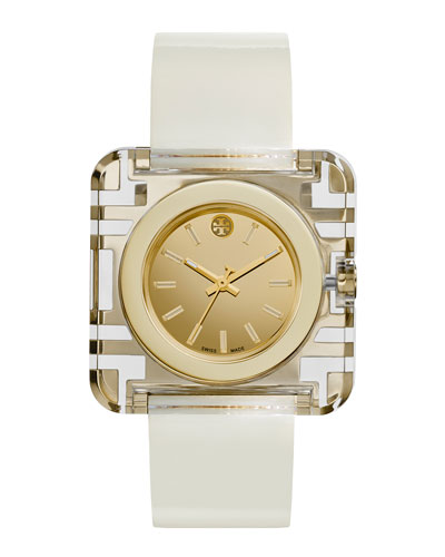 Izzie Leather-Strap Golden Watch, White