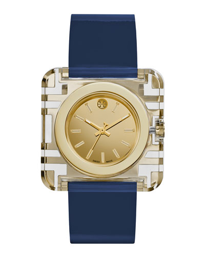 Izzie Leather-Strap Golden Watch, Navy