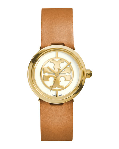 28mm Reva Leather-Strap Watch, Tan/Golden