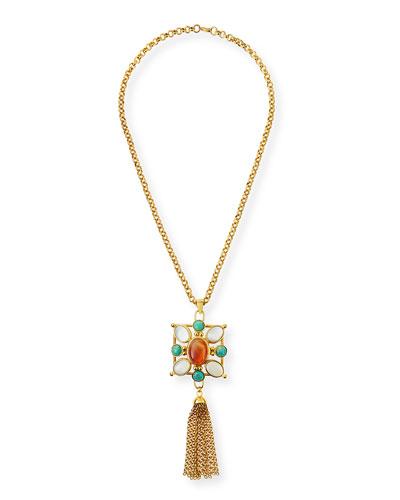 Square Pendant Tassel Necklace