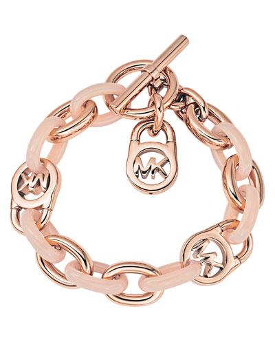 Logo-Lock Charm Bracelet, Rose Golden