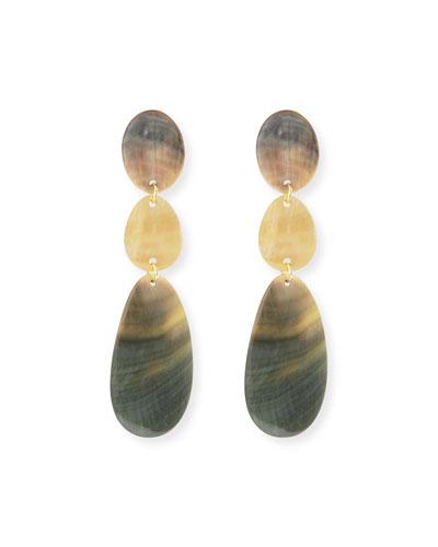 Triple Drop Oval Shell Earrings