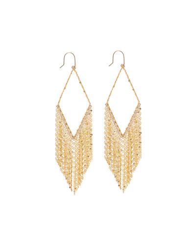 14k Diamond-Shaped Fringe Hoop Earrings