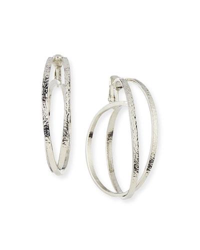 Crisscross Clip-On Hoop Earrings, Silver Plate