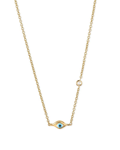 14k Gold Mini Evil Eye Necklace with Diamond