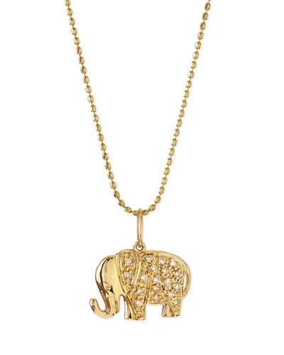 14k Gold Diamond Elephant Pendant Necklace