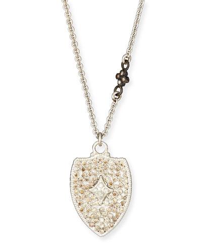 Champagne Diamond Cravelli Shield Pendant Necklace, 16