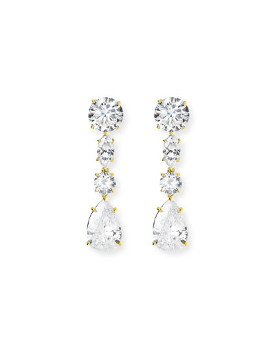 Linear CZ Drop Earrings