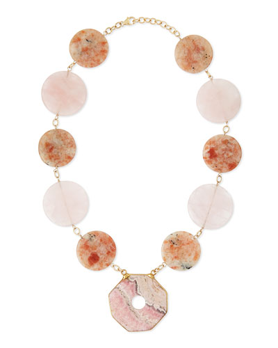 Multi-Stone Statement Necklace, Pink