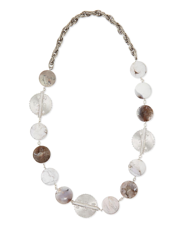 Rhodium-Plate Medallion Agate Necklace