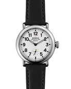 Runwell Watch with Black Leather Strap, 36mm