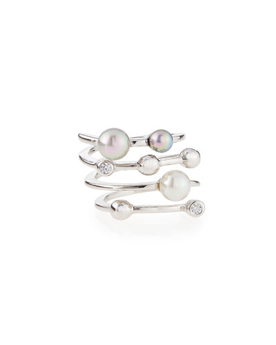 Four Row Multi-Pearl Ring