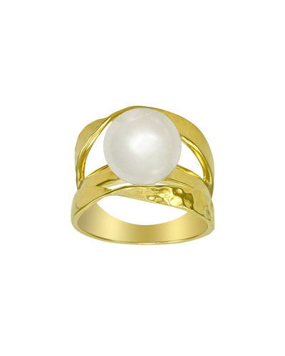 Gold Vermeil Pearl Ribbon Ring