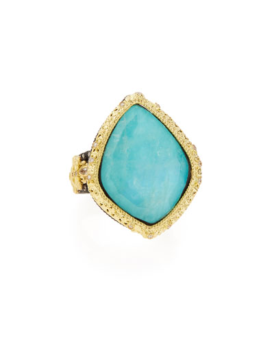 Old World Blue Turquoise & Diamond Ring