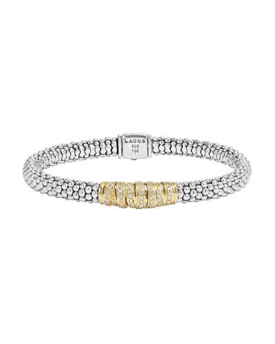 Embrace Silver & 18k Diamond Caviar Bracelet