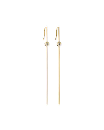14k Gold Long Bar Earrings with Diamonds