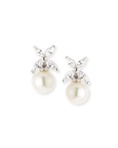 CZ Top Simulated-Pearl Stud Earrings, 8mm