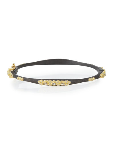 ARMENTA 18K Yellow Gold And Blackened Sterling Silver Old World Diamond And White Sapphire Bracelet