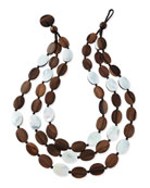 Tiger Wood & Mother-of-Pearl Triple Strand Necklace