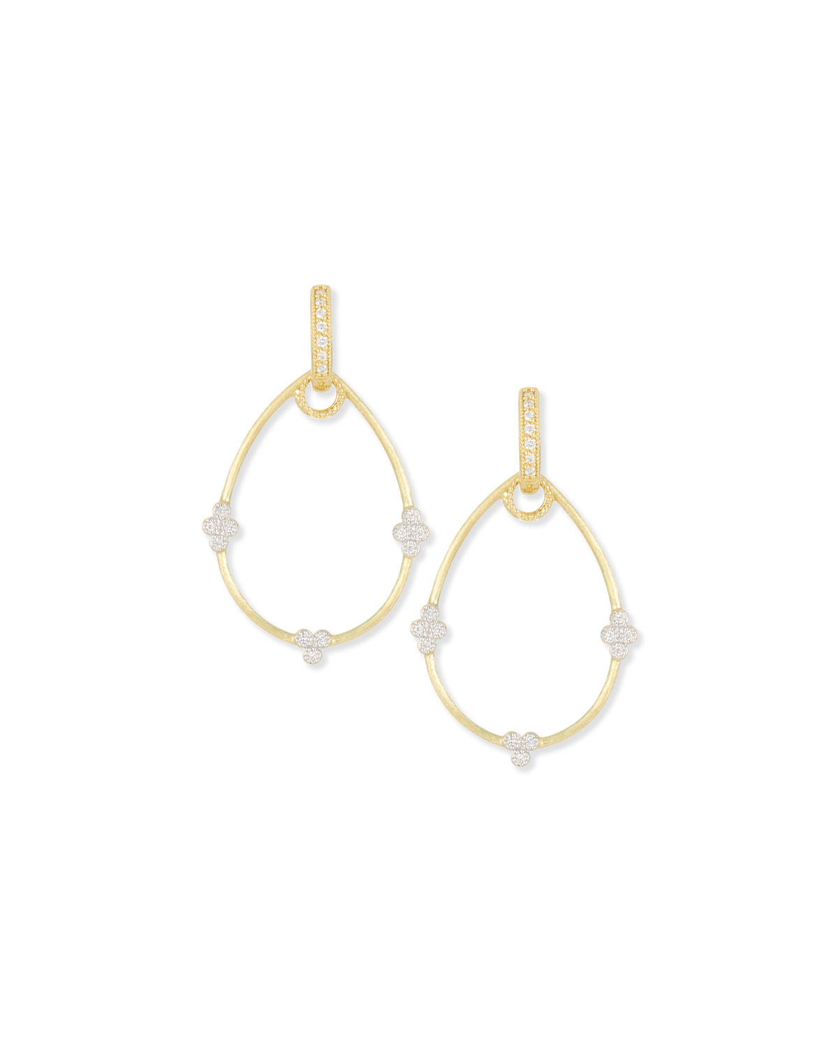 Yellow Gold Provence Pear Earring Charm Frames