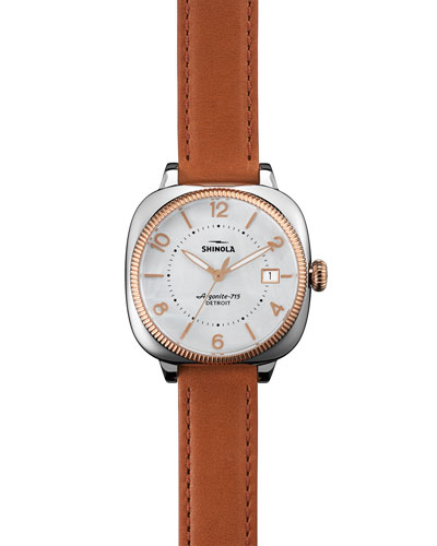 36mm Gomelsky Leather-Strap Watch, Orchid