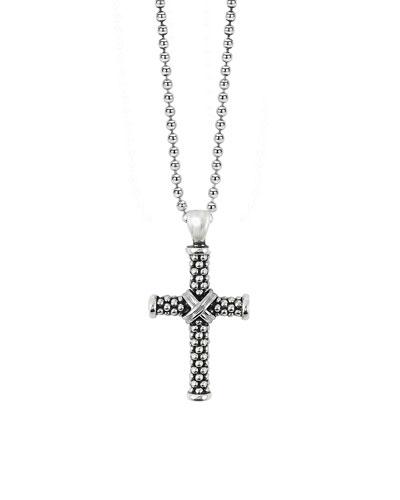 Signature Caviar Beaded Cross Pendant Necklace, Silver