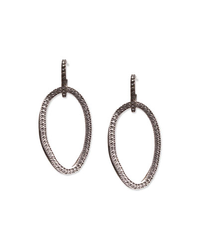 Silver Open-Circle Link Drop Earrings