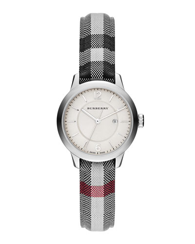 32mm Round Stainless Watch with Check Strap
