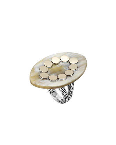 Dot Marquise Buffalo Horn Ring