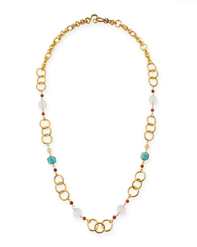 Joy Gold-Plated Turquoise Chain Necklace, 42