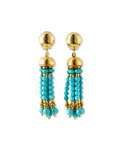 Clip-On Turquoise Beaded Tassel Earrings