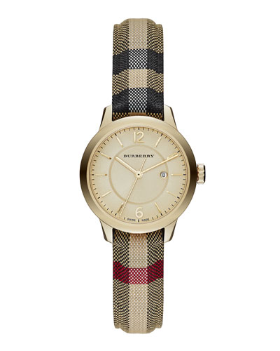 32mm Round Golden Watch with Check Strap