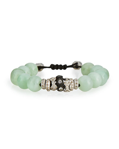 Green Moonstone & Diamond Beaded Bracelet