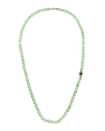 Green Moonstone & Diamond Beaded Necklace, 36