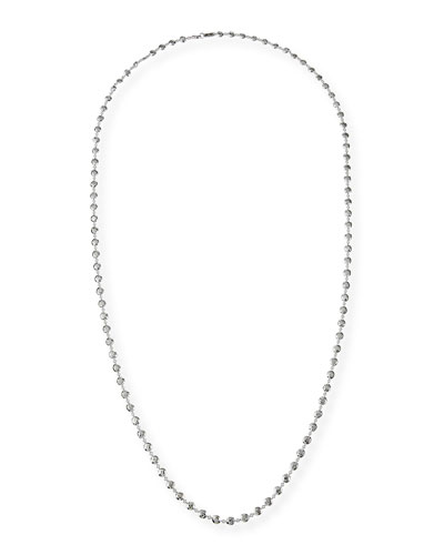 Glamazon Silver Flat Hammered Bead Necklace, 40