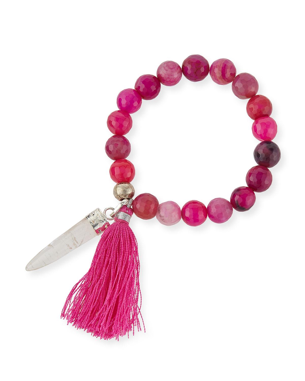 Fuchsia Agate Beaded Tassel Bracelet