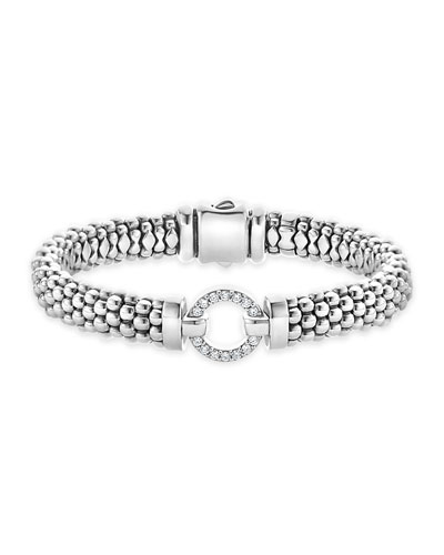 Enso Diamond Caviar Rope Bracelet, 9mm
