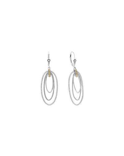 Caviar Three-Loop Drop Earrings
