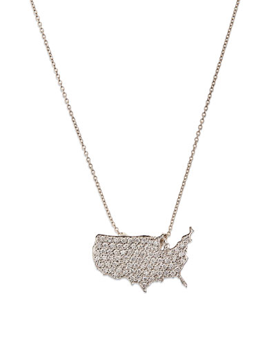 18k White Gold Diamond USA Pendant Necklace