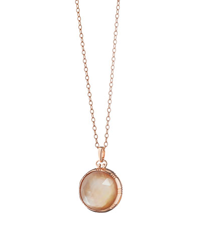Rose Gold Cognac Mother-of-Pearl Petite Locket Necklace