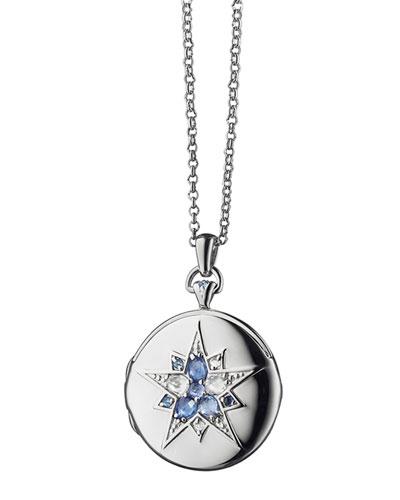 Round Silver Burst Locket with Sapphires & Crystal, 30