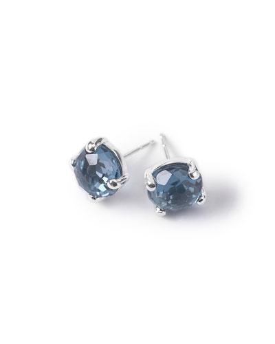 Silver Rock Candy Mini Stud Earrings, London Blue Topaz