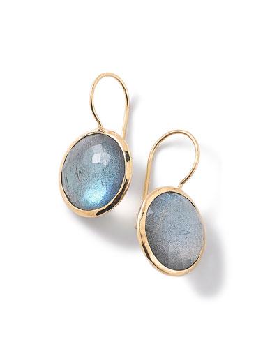 18k Gold Lollipop Drop Earrings, Blue