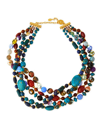Chunky Multi-Stone Necklace, Blue