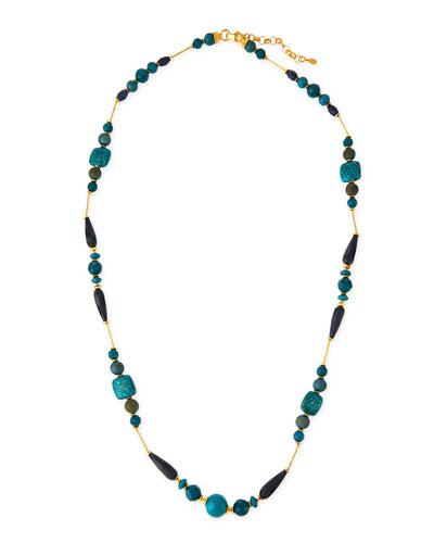 Long Blue Station Necklace, 44