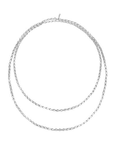Bamboo Silver Sautoir Long Necklace, 65