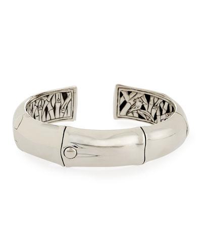 Bamboo Silver Cuff Bracelet, Size M