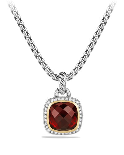 Albion Pendant with Garnet and Diamonds with 18k Gold