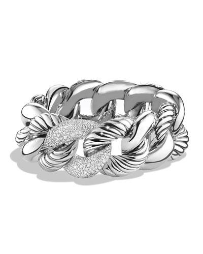 Belmont Curb Link Bracelet with Diamonds, 25mm