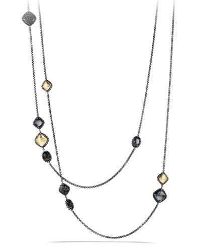 Necklace with 18k Gold Dome, Black Onyx and Black Diamonds